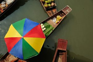 Maeklong railway market - Damnoen Saduak floating market - Lunch - and choice of Chinatown, Wat Pho, Grand Palace and Wat Phra Kaew, or Jim Thompson House.