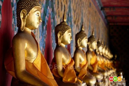 Buddha images around Wat Arun or the Temple of Dawn's ordination hall. Visit Wat Arun on our private tours in Bangkok.