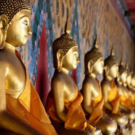 Buddha images around Wat Arun or the Temple of Dawn's ordination hall