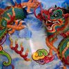 A dragon decoration on a wall of a Chinese temple in Chinatown